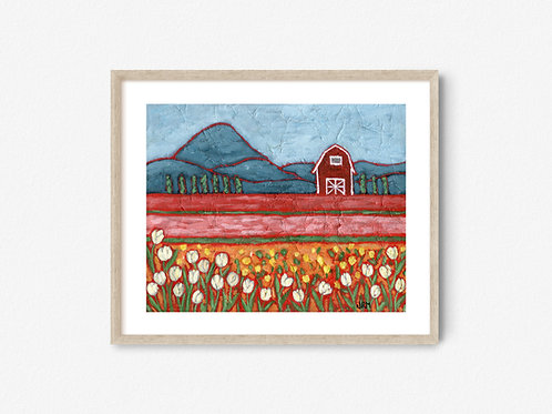 Barn and Tulips Landscape