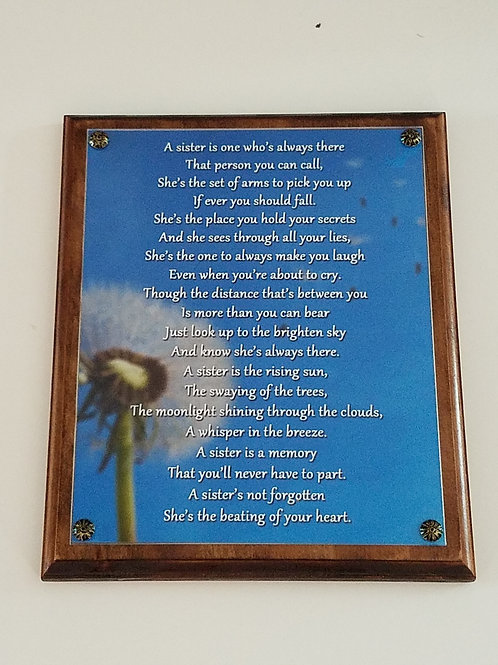 In Memory of Sister Wall Plaque