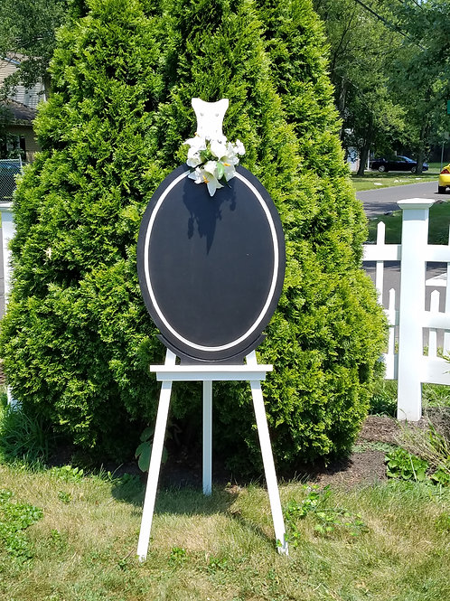 Black Solid Wood Oval with White Border- Board/Sign