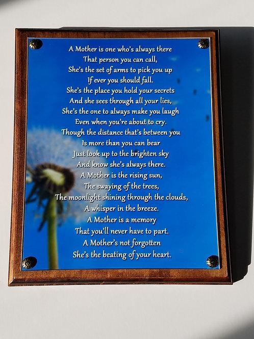 Mother Remembrance Plaque