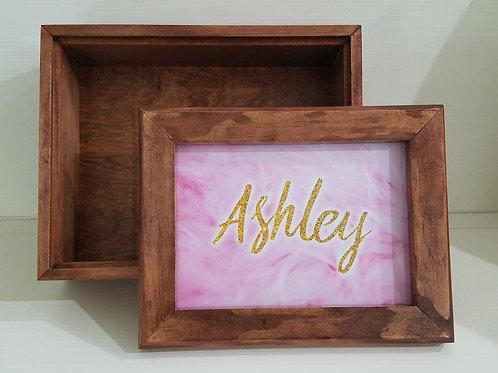 Photo Box - Pink Feathers Gold Glitter Name