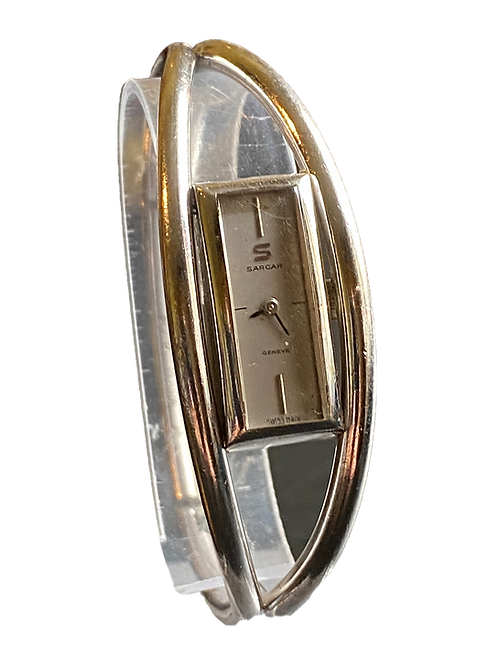1970's Sarcar Geneve Ladies Solid Silver Bangle Watch
