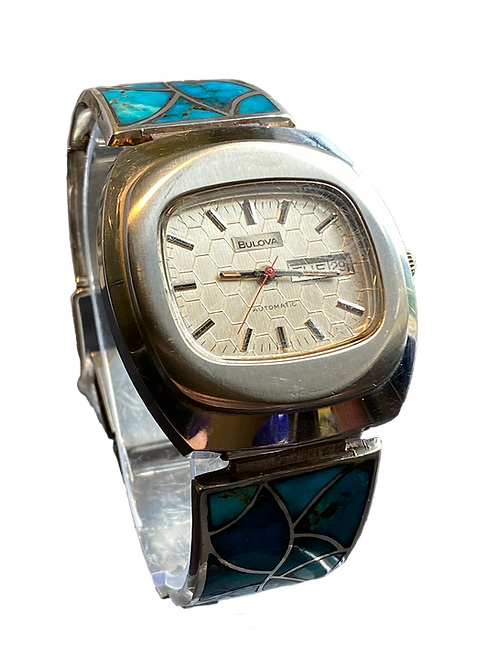 1974 Bulova Automatic Gents on Silver & Turquoise Bracelet 1970's