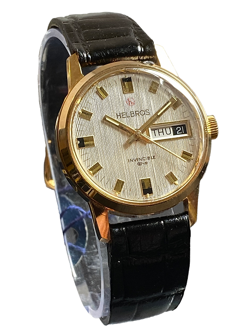 Helbros Invincible Gents 1970's Dress Watch New Old Stock