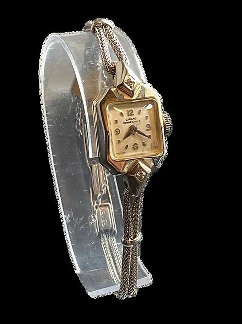 Girard Perragaux 14ct Gold and Diamond 1950's Ladies Bracelet Watch