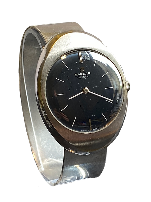 Sarcar Geneve Sterling Silver Gents Bangle Watch 1970's