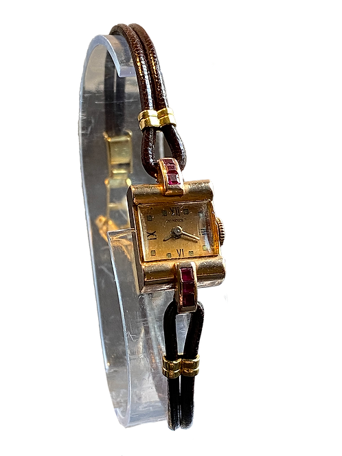 Concord 1940's 14ct Gold and Ruby Set Dress Watch on Strap