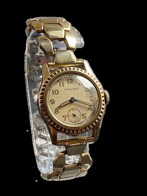 Midland Watch Co Gents Dress Watch On Bracelet  c.1949