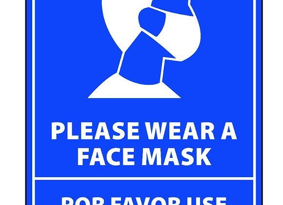 "Bilingual Face Mask Sticker 12"" tall blue"