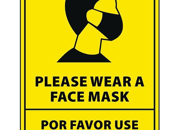 "Bilingual Face Mask Sticker 12"" tall"