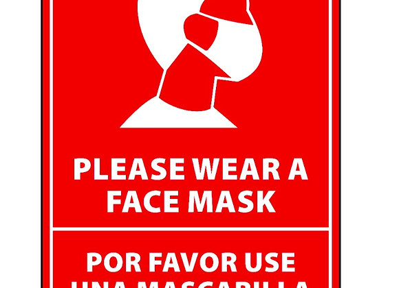 "Bilingual Face Mask Sticker 12"" tall red"