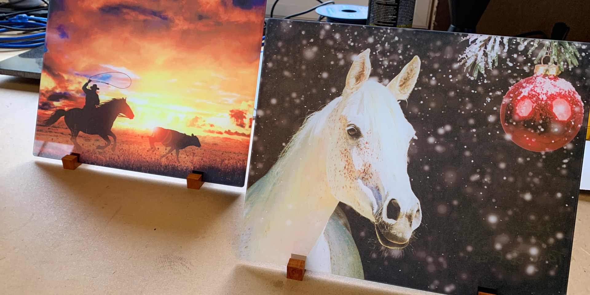Items for charity auction to benefit Enumclaw Pro Rodeo. Prints on glass.