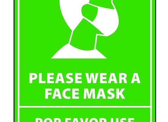 "Bilingual Face Mask Sticker 12"" tall green"