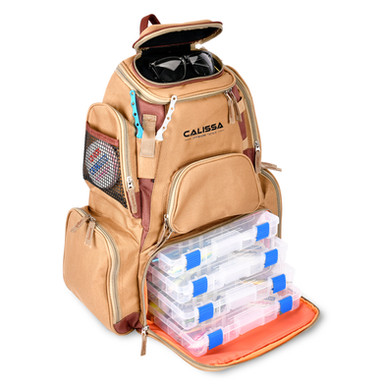 Fishing Tackle Backpack Tan Color