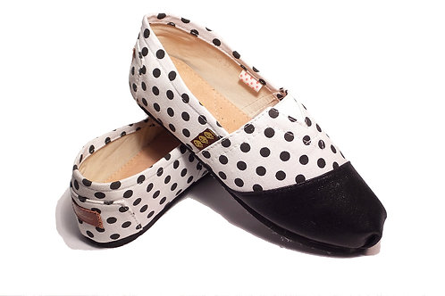 Classic Canvas Slip Ons Shoes, White & Black Dots