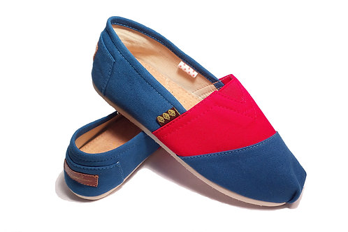 Classic Canvas Slip ons shoes, Blue & Red Fragolinas