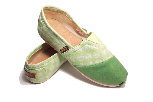 Classic Canvas Slip Ons Shoes, Green Circles Fragolinas