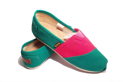 Classic Canvas Slip Ons Shoes, Teal & Strawberry Fragolinas