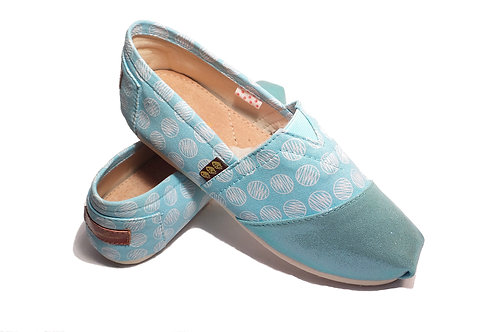 Classic Canvas Slip Ons Shoes, Baby Blue Circles Fragolinas