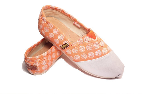 Classic Canvas Slip Ons Shoes, Orange Circles Fragolinas