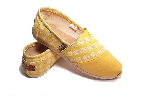 Classic Canvas Slip Ons Shoes, Yellow Circles Fragolinas