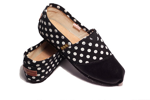 Classic Canvas Slip Ons Shoes, Black & White Dots Fragolinas