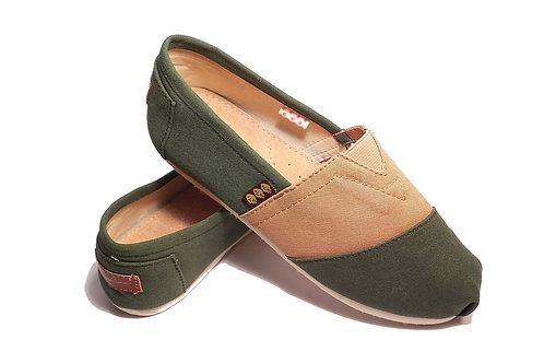 Classic Canvas Slip Ons Shoes, Olive Green & Beige Fragolinas