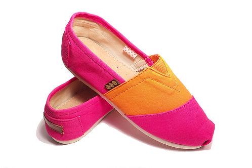 Classic Canvas Slip Ons Shoes, Fucsia & Orange Fragolinas