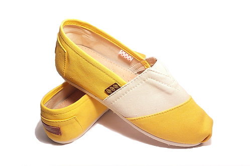 Classic Canvas Slip Ons Shoes, Yellow & Beige Fragolinas