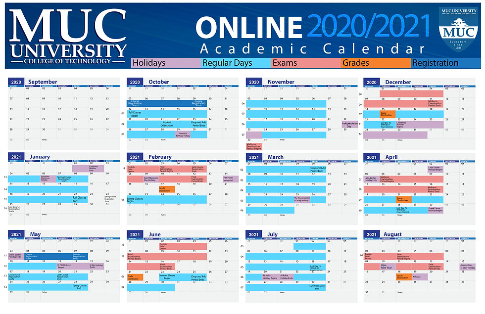 Online Academic Calendar 2020-2021