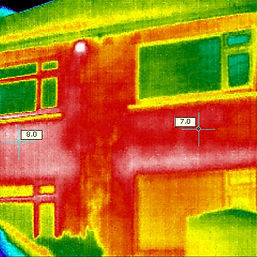 Thermal Imaging shows hot and cold spots caused by damp insulation