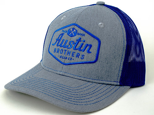 Trucker Hat Grey and Blue