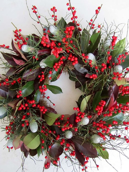 Large Luxury red Berries, Cones and Christmas Foliage Door Wreath