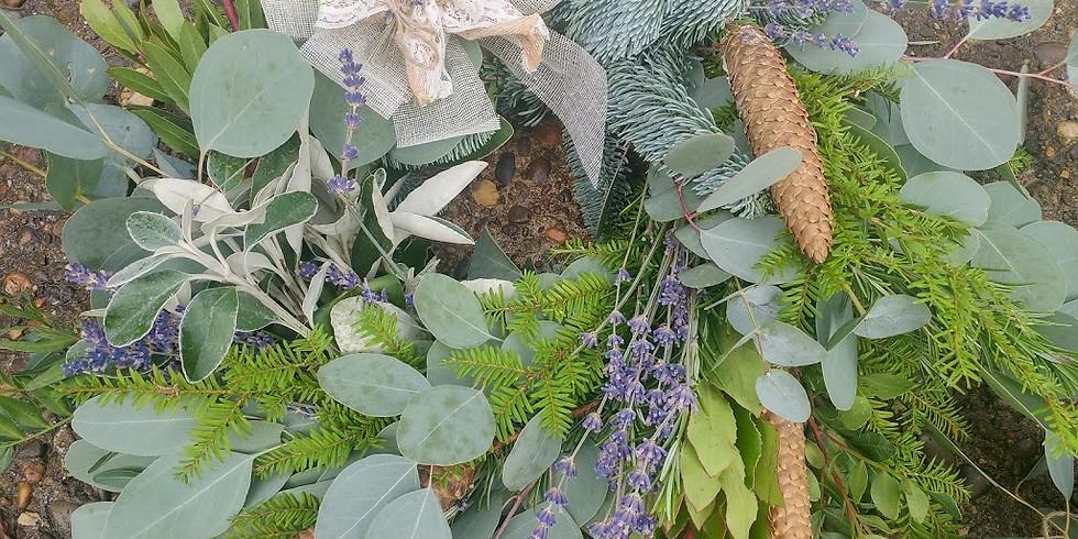 £40 Lavender, herb and blue pine Festive Door Wreath