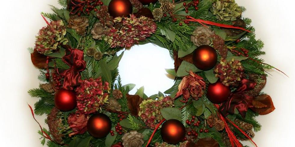 Christmas Door Wreath - Baubles, bows and cones