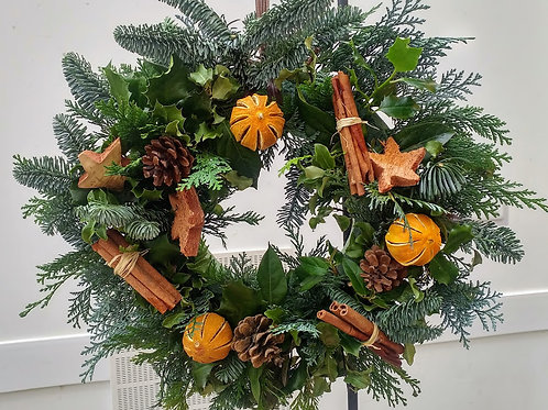 Traditional Door Wreath with natural fruits, cones and cinnamon sticks - £35