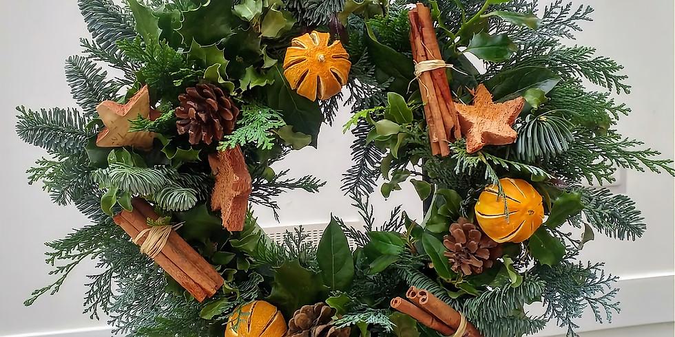A Traditional Mossed Christmas Wreath