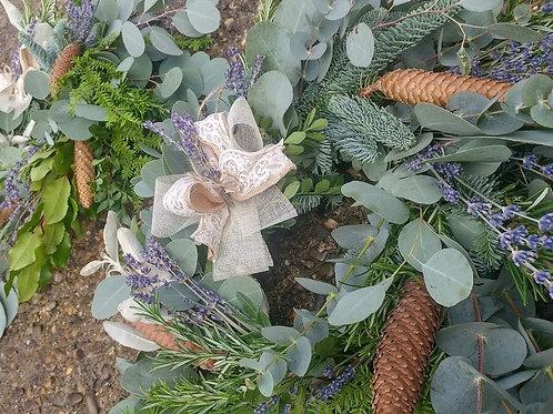 Lavender, eucalyptus, Christmas foliage and cones