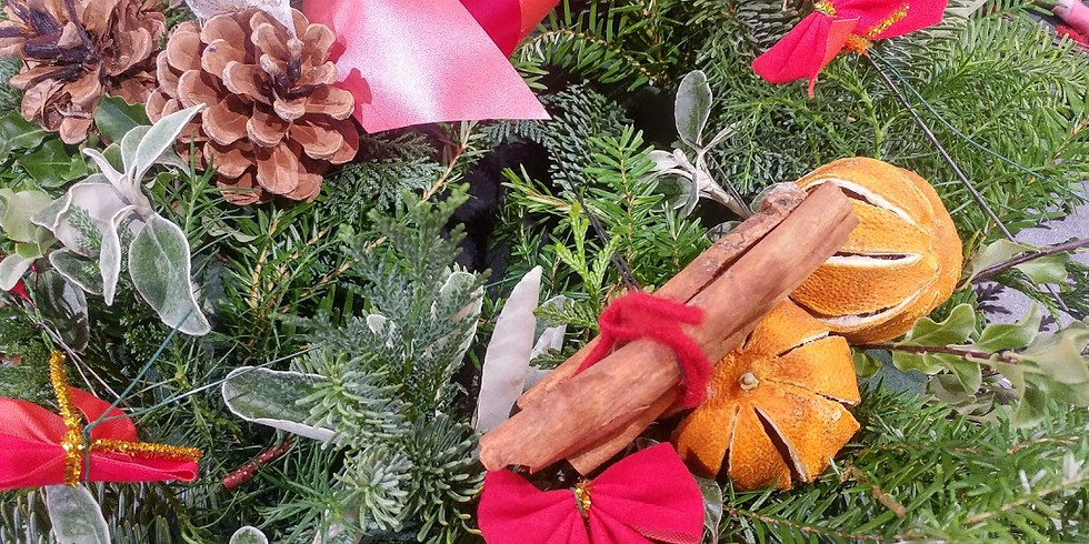 £35 Make a Christmas Door Wreath and enjoy glass of fizz and some mince pies