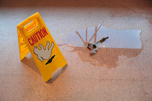 Banana Peel in the Melted Ice floor slippery caution sign by Andrew Liang