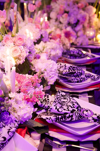 Centerpieces and place settings.