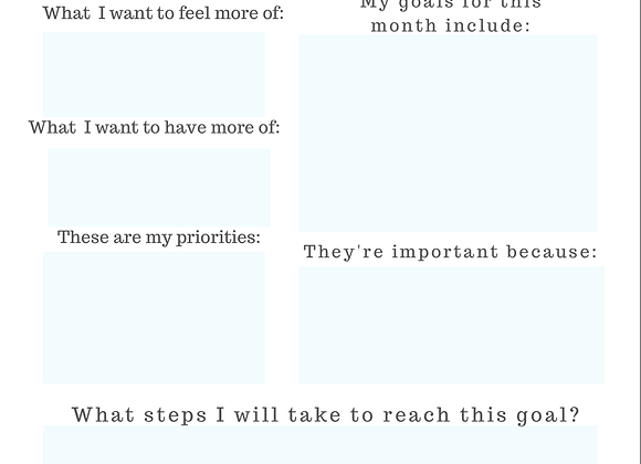 Monthly Goal Planner plus Tips-digital download