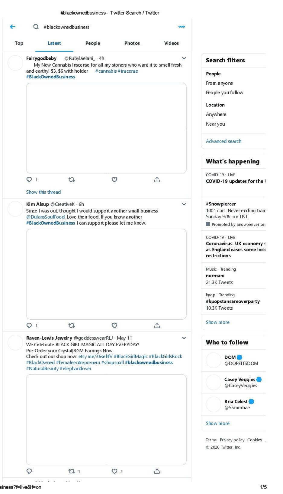 SCREENSHOT OF TWITTER FEED #BLACKOWNEDBUSINESS FROM DARIAN SMITH JR.'S FEED.