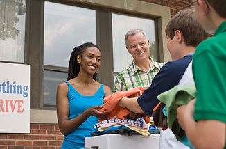 Receiving Donations at Clothing Drive