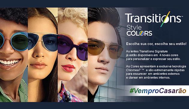 682d4df13 As lentes Transitions, já estão disponíveis aqui no Casarão do Óculos com 4  novas cores vibrantes para personalizar qualquer armação e expressar seu  estilo.