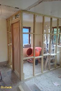 Stud work walls wet room