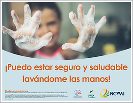 NCPMI Spanish language poster 'I Can Be Safe and Healthy by Washing my Hands!' for children.