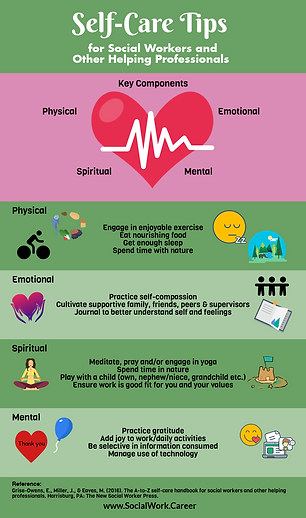 Self-Care Tips for SSW and Other Helpers graphic