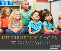 "Cover of Book ""Interrrupting Racism"", title in dark bar at bottom of image of chilren of diverse races and genders wearing colorful shirts."