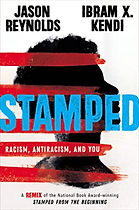 "Cover of book ""Stamped: Racism, AntiRacism, and You, A Remix"" with white background, a sillohuette of a Black person from the shoulders up with natural hair in profile, horizontal red bars evenly spaced over the persons profile, Title in blue, bold, block capital letters."